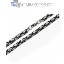 RVS Bi-color black koningsschakel ketting 55 cm.