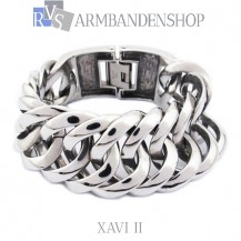 "Rvs armband Xavi II"" 18, 19, 20 of 21,5 cm en 2 cm breed."""