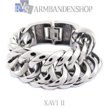 "Rvs Buddha to Buddha style armband ""Xavi II""  2 cm breed."
