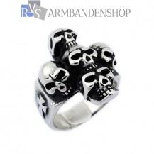 Rvs skull cross ring