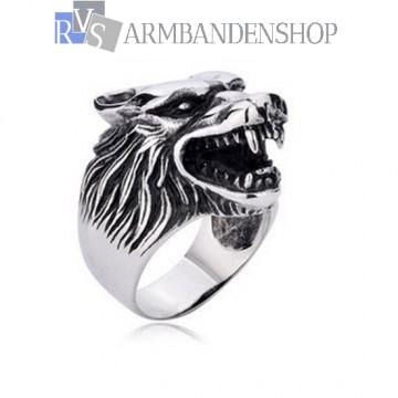 Rvs Wolf ring.