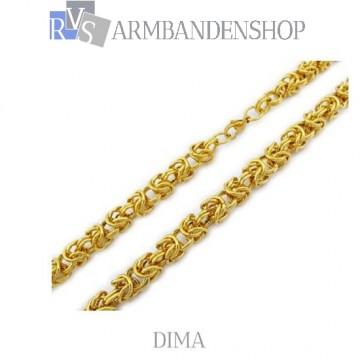 """RVS Gold-color ketting """"Dima""""."""