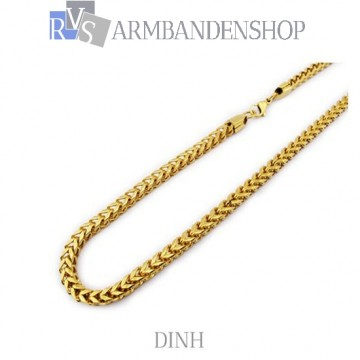 """RVS Gold-color ketting """"Dinh""""."""