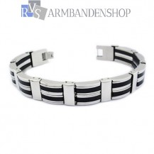 RVS armband met rubber 22 cm.