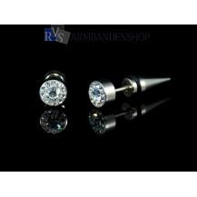 """Rvs oorbellen met """"diamant"""" rond."""