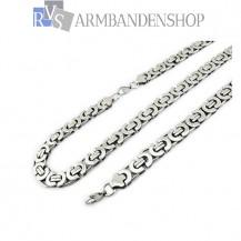 RVS sieraden set platte koningsschakel ketting + armband
