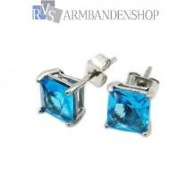 Rvs oorbellen met saffier blauwe zirkonia