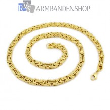 RVS  edelstaal Gold-color koningsschakel ketting 53 cm.