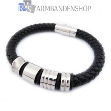 Zwarte leren armband met rvs edelstaal.