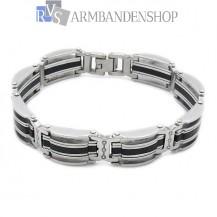 RVS armband met rubber 21 cm.