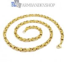 RVS  Gold-color koningsschakel ketting 50 of 58 cm.