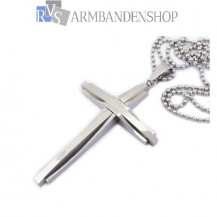 Rvs kruis hanger en ketting.