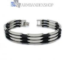 RVS armband met rubber 20.5 cm.