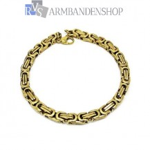 Rvs Gold-color koningsschakel armband.