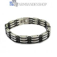 RVS armband met rubber 21.3 cm.