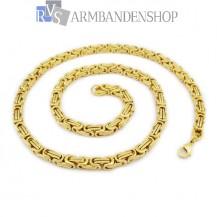 RVS Gold-color koningsschakel ketting 50 cm.