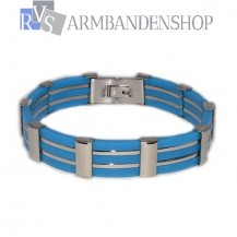 RVS armband blauw.