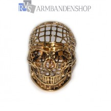 """Rvs """"Gouden"""" Skull ring."""