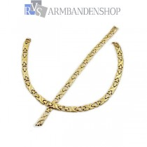 RVS set Gold-color design ketting + armband.