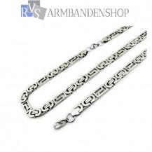 RVS sieraden set platte koningsschakel ketting + armband.