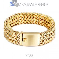"Rvs Gold plated armband ""Xess""."