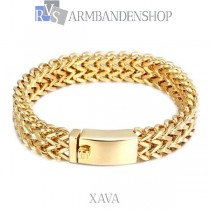 "Rvs Gold plated armband ""Xava""."