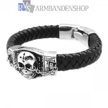 Zwarte bikers leren armband met skull.
