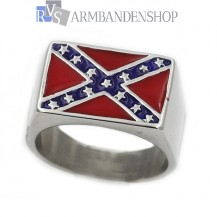 Rvs rebel ring rebel flag.