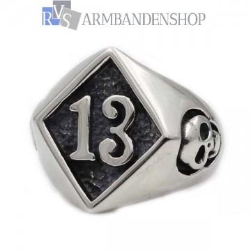 Rvs Skull ring met zegel 13.