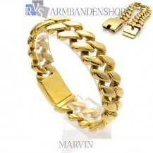 """Rvs Gold plated armband """"Marvin""""."""