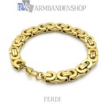 "Rvs Gold plated koningsschakel armband ""Ferdi""."