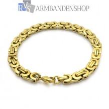 Rvs Gold plated platte koningsschakel armband.