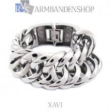 "Rvs armband Xavi""  19, 20 of 21,5 cm en 3 cm breed."""