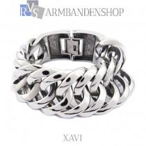 """Rvs Buddha to Buddha style heren armband """"Xavi"""" 3 cm breed."""