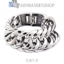 "Rvs heren armband ""Xavi II""  2 cm breed."