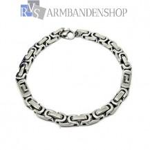 RVS kubus koningsschakel armband 22 cm