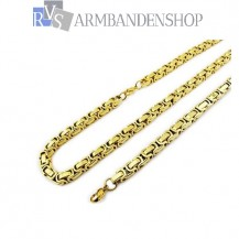 RVS set Gold-color koningsschakel ketting + armband.