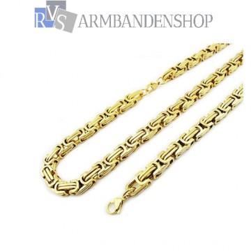 RVS set Gold-color koningsschakel ketting + armband.
