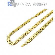 RVS set Gold-color platte koningsschakel ketting + armband.