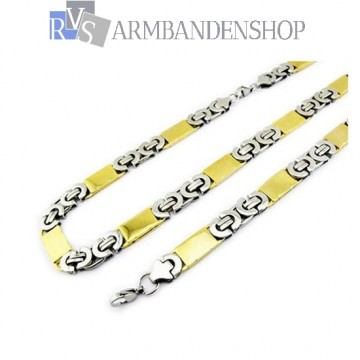 RVS set Bi-color platte koningsschakel ketting + armband