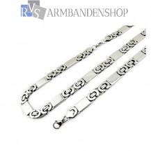 RVS sieraden set platte koningsschakel ketting + armband 1,1 cm.