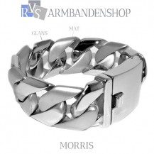 "Rvs armband MAT RVS  Morris"" 21 cm."""