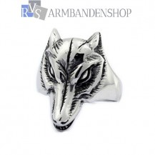 Rvs wolf head ring.