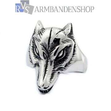 Rvs wolf head ring.