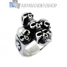 Rvs skull cross ring