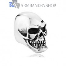 Rvs biker big skull ring.