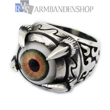 Rvs eye of Satan ring.