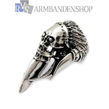 Rvs Ivory & Skull ring.