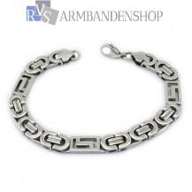 Rvs platte koningsschakel armband 23 cm.