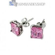 Rvs oorbellen met saffier roze zirkonia